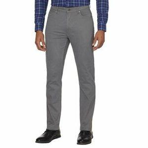 DKNY Mens Bedford Slim Straight Twill Pants GRAY